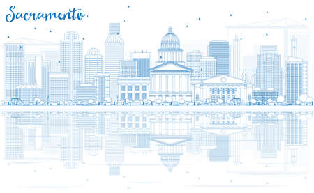 Outline Sacramento Skyline with Blue Buildings and Reflections. Vector Illustration. Business Travel and Tourism Concept with Modern Architecture. Image for Presentation Banner Placard and Web Site.
