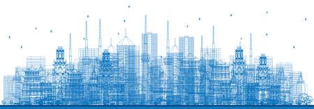 도시 고층 빌딩 및 건물 파란색 색상 개요. 벡터 일러스트 레이 션. 비즈니스 여행 및 관광 개념입니다. 프레젠테이션, 배너, 플래 카드 및 웹 사이트 용 일러스트