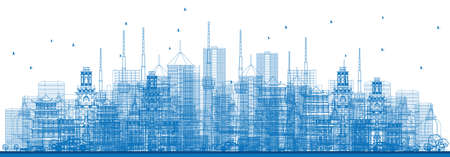 Outline City Skyscrapers and Buildings in Blue Color. Vector Illustration. Business Travel and Tourism Concept. Image for Presentation, Banner, Placard and Web Site Illustration