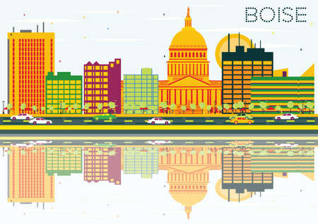 Boise Skyline with Color Buildings, Blue Sky and Reflections. Vector Illustration. Business Travel and Tourism Concept. Image for Presentation Banner Placard and Web Site.