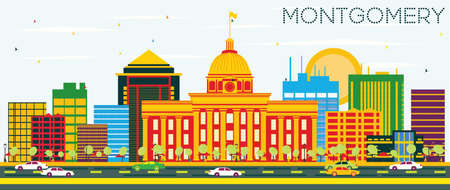 montgomery: Montgomery Skyline with Color Buildings and Blue Sky. Vector Illustration. Business Travel and Tourism Concept. Image for Presentation Banner Placard and Web Site.
