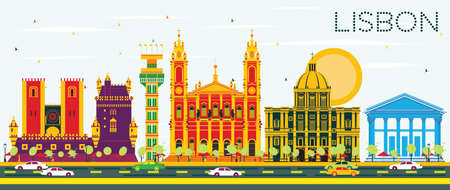 destination: Lisbon Skyline with Color Buildings and Blue Sky. Vector Illustration. Business Travel and Tourism Concept with Historic Architecture. Image for Presentation Banner Placard and Web Site.