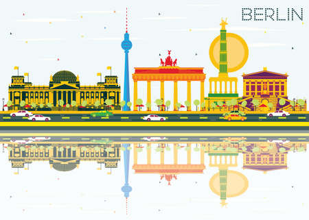 Berlin Skyline with Color Buildings, Blue Sky and Reflections. Vector Illustration. Business Travel and Tourism Concept with Historic Architecture. Image for Presentation Banner Placard and Web Site.