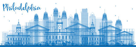 Outline Philadelphia Skyline with Blue Buildings. Vector Illustration. Business Travel and Tourism Concept. Image for Presentation Banner Placard and Web Site.