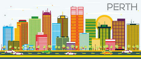 Perth Skyline with Color Buildings and Blue Sky. Vector Illustration. Business Travel and Tourism Concept. Image for Presentation Banner Placard and Web Site.