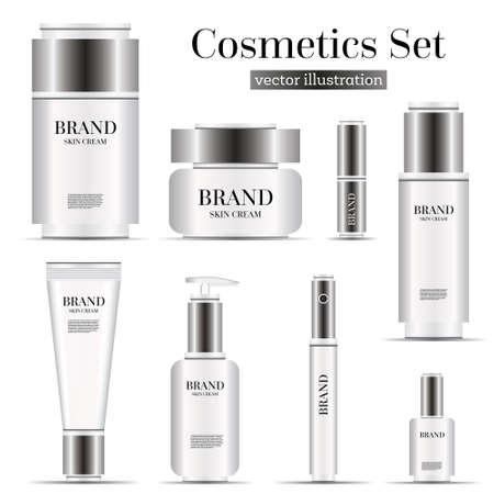 body wrap: Realistic Cosmetic Bottles Set Isolated on White Background. Vector Illustration. Illustration