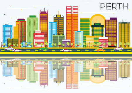 Perth Skyline with Color Buildings, Blue Sky and Reflections. Vector Illustration. Business Travel and Tourism Concept. Image for Presentation Banner Placard and Web Site. Vektorové ilustrace