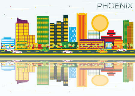 Phoenix Skyline with Color Buildings, Blue Sky and Reflection. Vector Illustration. Business Travel and Tourism Concept. Image for Presentation Banner Placard and Web Site. Illustration
