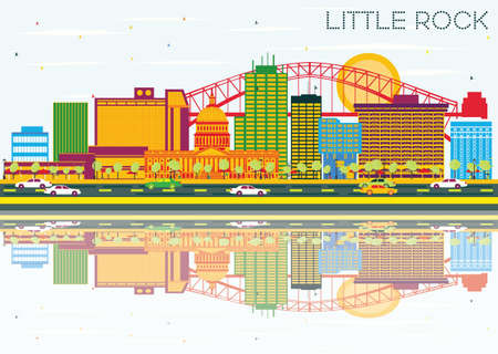 Little Rock Skyline with Color Buildings, Blue Sky and Reflections. Vector Illustration. Business Travel and Tourism Concept. Image for Presentation Banner Placard and Web Site. Illustration