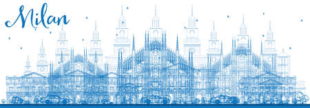 Outline Milan Skyline with Blue Landmarks. Vector Illustration. Business Travel and Tourism Concept with Historic Buildings. Image for Presentation Banner Placard and Web Site.