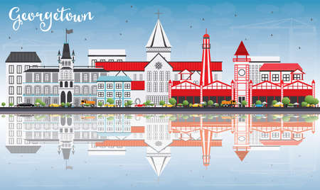 Georgetown Skyline with Gray Buildings, Blue Sky and Reflections. Vector Illustration. Business Travel and Tourism Concept with Modern Architecture. Image for Presentation Banner Placard and Web Site.
