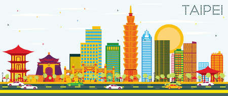 Taipei Skyline with Color Buildings and Blue Sky. Vector Illustration. Business Travel and Tourism Concept. Image for Presentation Banner Placard and Web Site.  イラスト・ベクター素材
