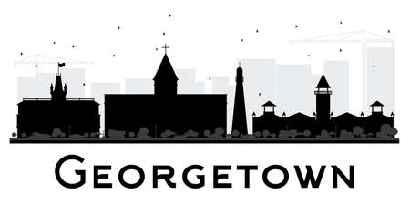georgetown: Georgetown City skyline black and white silhouette. Vector illustration. Simple flat concept for tourism presentation, banner, placard or web site. Cityscape with landmarks.