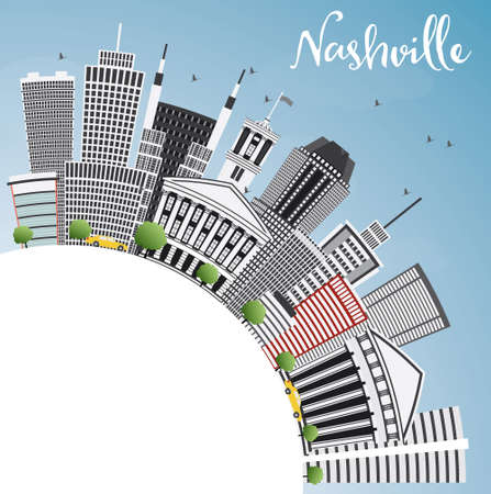 Nashville Skyline with Gray Buildings, Blue Sky and Copy Space. Vector Illustration. Business Travel and Tourism Concept with Modern Architecture. Image for Presentation Banner Placard and Web Site. Illustration