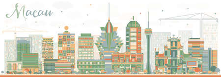 Abstract Macau Skyline with Color Buildings. Vector Illustration. Business Travel and Tourism Concept with Modern Architecture. Image for Presentation Banner Placard and Web Site.