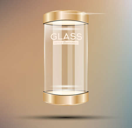 boutique display: Empty Golden Glass Showcase. Vector Illustration.