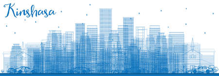 panorama city: Outline Kinshasa Skyline with Blue Buildings. Vector Illustration. Business Travel and Tourism Concept with Historic Buildings. Image for Presentation Banner Placard and Web Site.