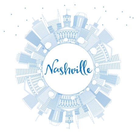 Outline Nashville Skyline with Blue Buildings and Copy Space. Vector Illustration. Business Travel and Tourism Concept with Modern Architecture. Image for Presentation Banner Placard and Web Site.