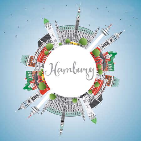 Skyline de Hambourg avec des bâtiments gris, ciel bleu et espace de copie. Illustration vectorielle Concept de voyage d'affaires et de tourisme avec l'architecture historique. Image pour Placard de bannière de présentation et site Web.