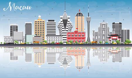 회색 건물, 푸른 하늘 및 반사 마카오 스카이 라인. 벡터 일러스트 레이 션. 비즈니스 여행 및 현대 건축과 관광 개념입니다. 프레젠테이션 배너 플래