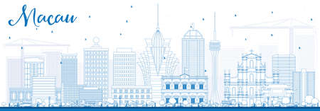 Outline Macau Skyline with Blue Buildings. Vector Illustration. Business Travel and Tourism Concept with Modern Architecture. Image for Presentation Banner Placard and Web Site.