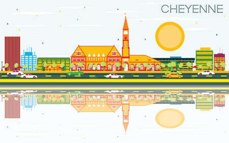 Cheyenne Skyline with Color Buildings, Blue Sky and Reflections. Vector Illustration. Business Travel and Tourism Concept. Image for Presentation Banner Placard and Web Site.