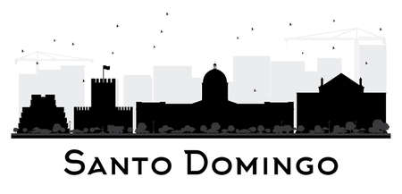 domingo: Santo Domingo City skyline black and white silhouette. Simple flat illustration for tourism presentation, banner, placard or web site. Cityscape with landmarks.