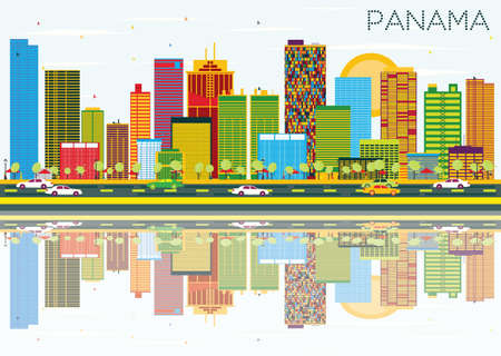 Panama Skyline with Color Buildings, Blue Sky and Reflections. Vector Illustration. Business Travel and Tourism Concept. Image for Presentation Banner Placard and Web Site.