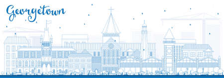 georgetown: Outline Georgetown Skyline with Blue Buildings. Vector Illustration. Business Travel and Tourism Concept with Modern Architecture. Image for Presentation Banner Placard and Web Site.