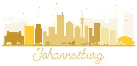 Johannesburg City skyline golden silhouette. Simple flat concept for tourism presentation, banner, placard or web site. Cityscape with landmarks. Stock Vector - 71453686