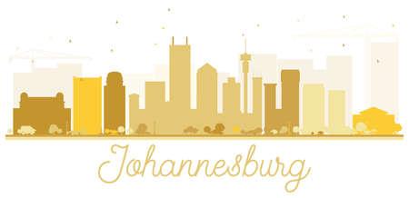 Johannesburg City skyline golden silhouette. Simple flat concept for tourism presentation, banner, placard or web site. Cityscape with landmarks. Illustration