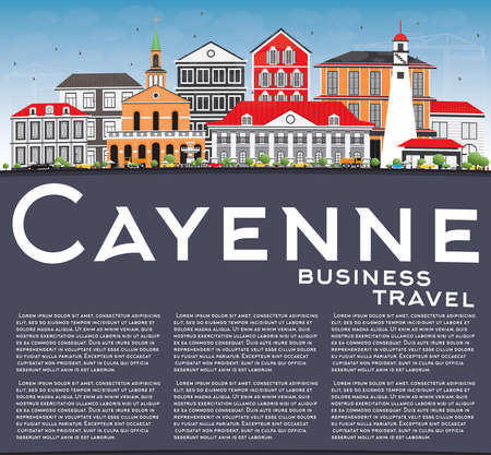 Cayenne Skyline with Color Buildings, Blue Sky and Copy Space. Vector Illustration. Business Travel and Tourism Concept with Modern Architecture. Image for Presentation Banner Placard and Web Site. Illustration