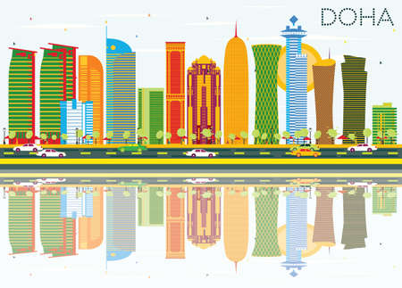 Doha Skyline with Color Buildings, Blue Sky and Reflections. Illustration. Business Travel and Tourism Concept. Image for Presentation Banner Placard and Web Site.