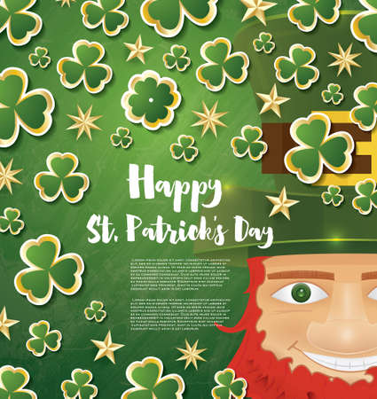 leafed: Saint Patricks Day Background with Clover Leaves, Golden Stars and Leprechaun. Illustration.