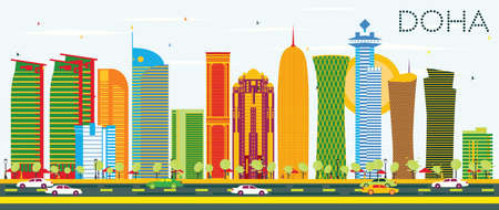 Doha Skyline with Color Buildings and Blue Sky. Illustration. Business Travel and Tourism Concept. Image for Presentation Banner Placard and Web Site.