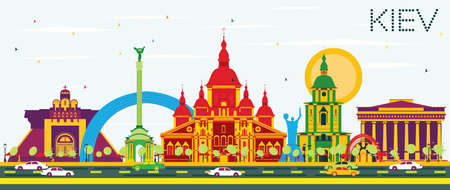Kiev Skyline with Color Buildings and Blue Sky. Illustration. Business Travel and Tourism Concept with Historic Architecture. Image for Presentation Banner Placard and Web Site.