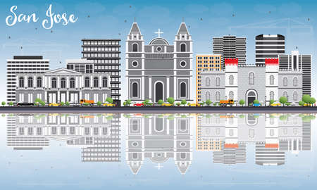 San Jose Skyline with Gray Buildings, Blue Sky and Reflections. Illustration. Business Travel and Tourism Concept with Modern Architecture. Image for Presentation Banner Placard and Web Site.
