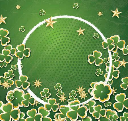 White Circle Frame with Clovers for St. Patricks Day. Illustration. Illustration