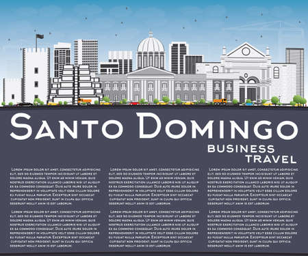 santo domingo: Santo Domingo Skyline with Gray Buildings, Blue Sky and Reflections. Illustration. Business Travel and Tourism Concept with Modern Architecture. Image for Presentation Banner Placard and Web Site.