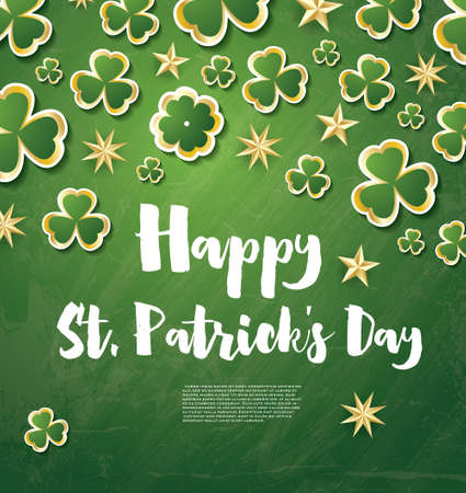 leafed: Saint Patricks Day Background with Clover Leaves and Golden Stars. Illustration.