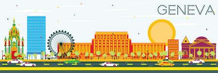 horizonte de ginebra con edificios de color y cielo azul. ilustración del concepto de viaje. concepto de turismo de negocios. la imagen para la presentación de presentación placard y sitios web .