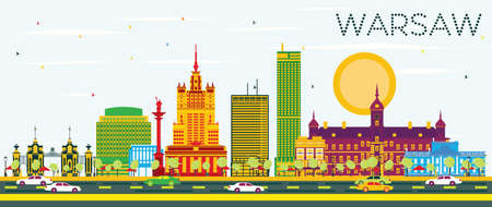 色の建物と青空にワルシャワのスカイライン。イラスト。ビジネス旅行や歴史的建造物を観光概念です。プレゼンテーション バナー プラカードと We  イラスト・ベクター素材