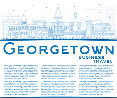 georgetown: Outline Georgetown Skyline with Blue Buildings and Copy Space. Illustration. Business Travel and Tourism Concept with Modern Architecture. Image for Presentation Banner Placard and Web Site.