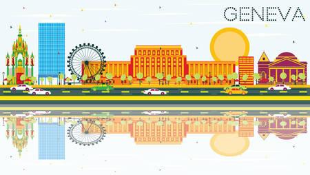 Horizonte de Ginebra con edificios de color, cielo azul y reflexiones. Ilustración. Viajes de Negocios y Concepto de Turismo. Imagen para el cartel y el Web site de la bandera de la presentación.