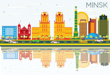 Minsk Skyline with Color Buildings, Blue Sky and Reflections. Illustration. Business Travel and Tourism Concept. Image for Presentation Banner Placard and Web Site.