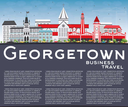 georgetown: Georgetown Skyline with Gray Buildings, Blue Sky and Copy Space. Illustration. Business Travel and Tourism Concept with Modern Architecture. Image for Presentation Banner Placard and Web Site.