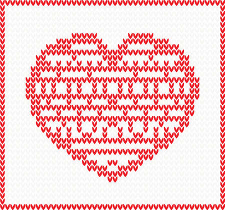 Knitted Pattern with Red Heart. Christmas and Valentines Day Concept.
