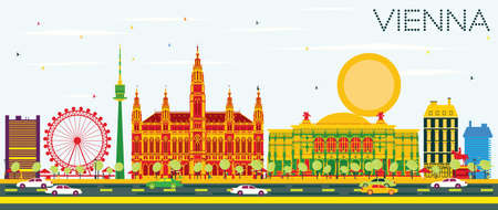 Vienna Skyline with Color Buildings and Blue Sky. Vector Illustration. Business Travel and Tourism Concept with Modern Architecture. Image for Presentation Banner Placard and Web Site. Illustration