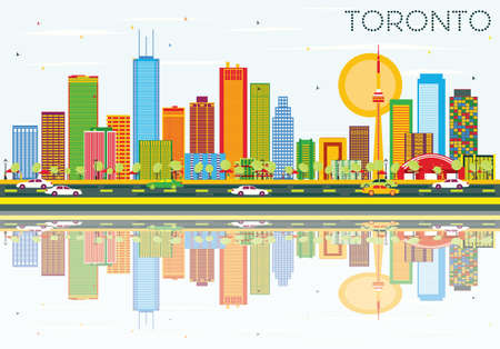 Toronto Skyline with Color Buildings, Blue Sky and Reflections. Vector Illustration. Business Travel and Tourism Concept with Historic Architecture. Image for Presentation Banner Placard and Web Site.