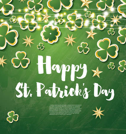 Saint Patricks Day Background with Clover Leaves, Neon Lights and Golden Stars. Vector Illustration.